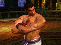 Kazuya Mishima looking distainful of your skills in Tekken 3D Prime Edition