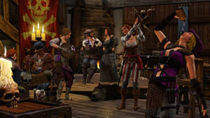 Pirates out for a night on the town in The Sims Medieval: Pirates and Nobles