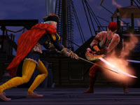 A noble and a pirate crossing swords on the high seas in The Sims Medieval: Pirates and Nobles