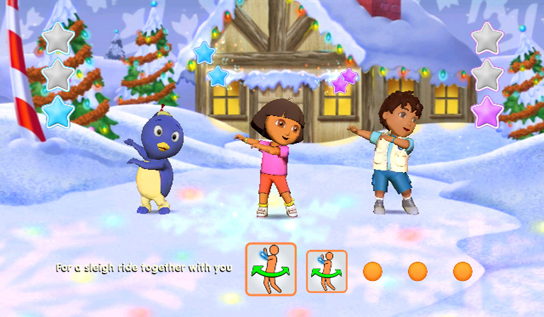 Dancing in a Christmas themed winter setting in Nickelodeon Dance