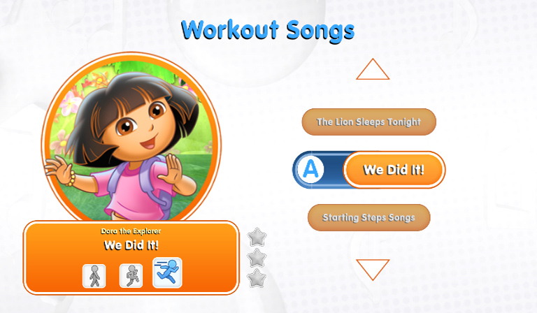 Dora and the workout songs grade screen from Nickelodeon Dance