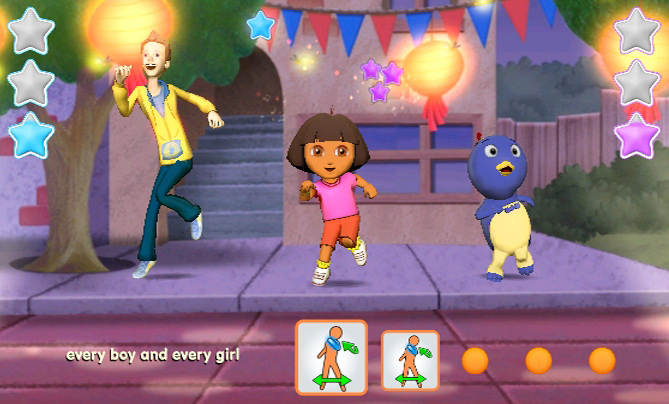 Dora leading the dance party in Nickelodeon Dance