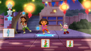 Dora, Alicia and Boots dancing in Nickelodeon Dance for Xbox 360