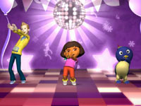 Dora leading a disco dance party in Nickelodeon Dance for Xbox 360