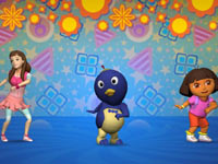 Doing the Twist with friends in Nickelodeon Dance for Xbox 360