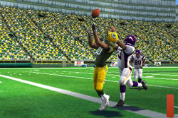 Fighting for a pass at the goal line in Madden NFL 12 for PSP