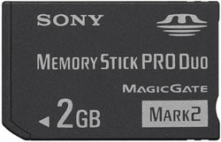 The 2 GB memory stick PRO Duo included in the Limited Edition PSP Sports Entertainment Pack