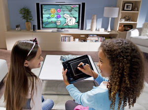 Girls playing with uDraw GameTablet Black for Wii