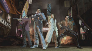 The four playable characters of Yakuza: Dead Souls posing with their guns ready
