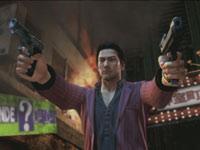 Shun Akiyama dual-wielding pistols in Yakuza: Dead Souls