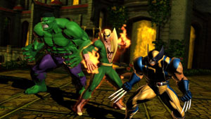 The team of Hulk, Iron Fist and Wolverine in Ultimate Marvel vs Capcom 3 for PS Vita