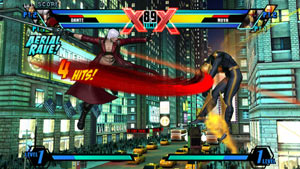 Dante landing a 4-hit combo on Nova in Ultimate Marvel vs Capcom 3 for PS Vita