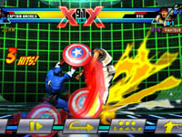 A replay of a Captain America combo against Ryu in Ultimate Marvel vs Capcom 3 for PS Vita