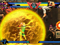 Phoenix using a special attack against Ryu in Ultimate Marvel vs Capcom 3 for PS Vita