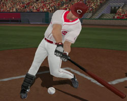 Swinging at a pitch low in the stike zone in Major League Baseball 2K12 for Wii