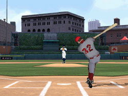 Swinging away at a pitch in Major League Baseball 2K12 for DS