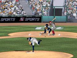 Challenging a batter inside with a pitch in Major League Baseball 2K12 for DS