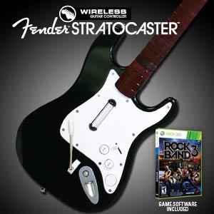 Sealed new xbox 360 rock band 3 game + wireless guitar bundle set.