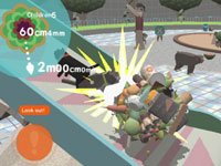 Maneuvering a katamari up a ramp while avoiding obstacles in Touch My Katamari