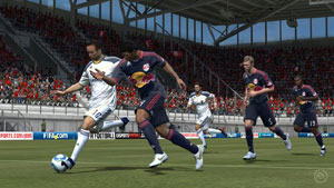 MLS rivals Landon Donovan and Rafael Marquez battling for the ball at midfield in EA Sports FIFA Soccer