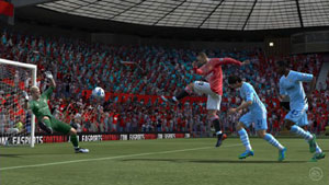 Wayne Rooney taking a shot on goal in EA Sports FIFA Soccer