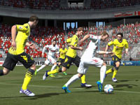 FC Kölm striker/winger Lukas Podolski dribbling the ball down field in EA Sports FIFA Soccer