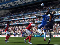 Goalie trying to punch the ball away in EA Sports FIFA Soccer