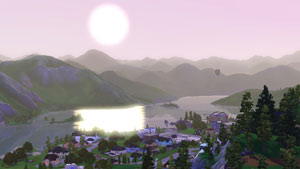 The town of Hidden Springs in The Sims 3: Hidden Springs