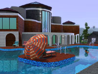 A palatial house from The Sims 3: Hidden Springs, including a pool with floating island