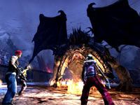 Players teaming up to battle a dragon like creature in The Secret World