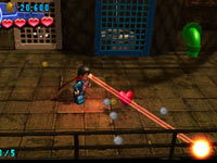 Superman using his heat vision in Lego Batman 2: DC Super Heroes for 3DS
