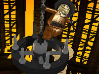 Scarecrow taunting from a chandellier in Lego Batman 2: DC Super Heroes for 3DS