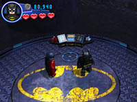 Batman and Robin in the batcave in Lego Batman 2: DC Super Heroes for 3DS