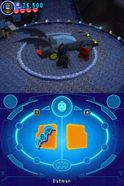 Batman, and Robin and the batmobile in Lego Batman 2: DC Super Heroes for DS