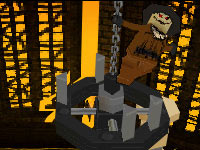 Scarecrow taunting from a chandellier in Lego Batman 2: DC Super Heroes for DS