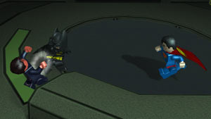 Batman, and Superman battling enemies in Lego Batman 2: DC Super Heroes for PS Vita