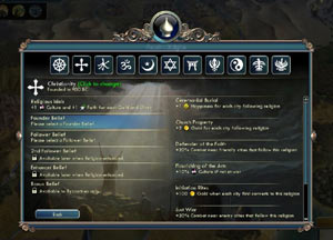 The Found a Religion overview screen from Sid Meier's Civilization V: Gods and Kings