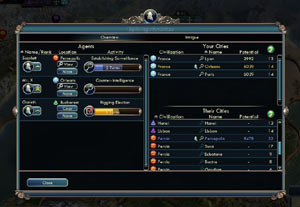 The espionage overview screen from Sid Meier's Civilization V: Gods and Kings