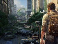 Joel overlooking the overgrown, post-apocalyptic world of The Last of Us