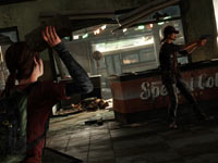 Ellie using a brick to stop a gun-wielding enemy in The Last of Us