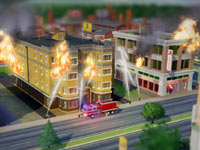 Firemen battling a multi-building fire in SimCity