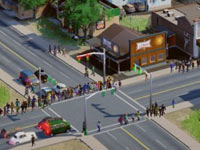 A large crowd of residents crossing a street in SimCity