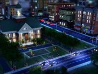 Police watching a protest in SimCity at night