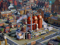 A smelting plant in operation in SimCity