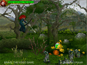 Merida shooting at an enemy in Brave: The Video Game
