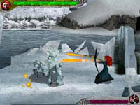 Merida using her bow to fight enemies in the snow in Brave: The Video Game