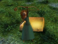 Merida brandishing a new bow in Brave: The Video Game