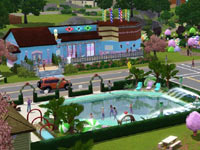 A neighborhood designed around the fun at the pool in The Sims 3: Katy Perry Sweet Treats