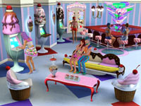 An inside hangout spot for sims in The Sims 3: Katy Perry Sweet Treats