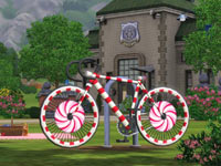 The candycane bike available in The Sims 3: Katy Perry Sweet Treats